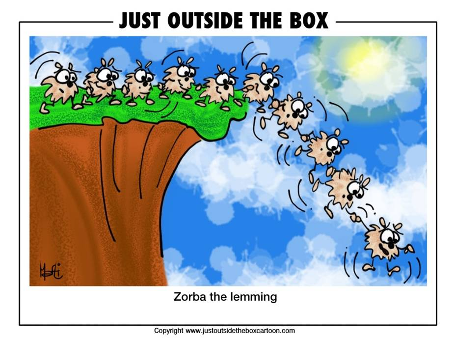 Why Lemmings Jump Cliffs Cartoon Obama Lemmings Jumping Off A Cliff